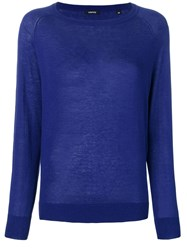 Aspesi Relaxed Fit Knitted Top Blue