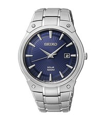 Seiko Mens Stainless Steel Round Watch With Navy Dial Silver