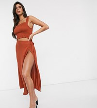 Akasa Exclusive Wrap Side Beach Skirt In Rust Red