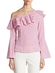 Crosley Ruffled Gingham One Shoulder Bell Sleeve Top Pink