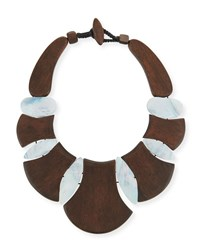 Viktoria Hayman Bellisima Wood Necklace Brown White