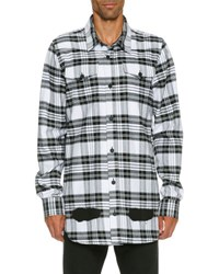 Off White Spray Paint Plaid Button Front Shirt Black White Black