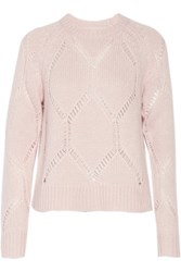 Tanya Taylor Ella Pointelle Trimmed Wool And Silk Blend Sweater Pastel Pink
