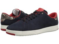 Cole Haan Grandpro Tennis Marine Blue Nubuck Roccia Snake Ivory Lace Up Casual Shoes