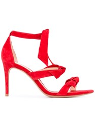 Alexandre Birman Strappy Sandals Women Leather Suede 38.5 Red