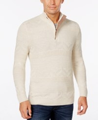 Tasso Elba Men's Big And Tall Quarter Zip Mixed Stitch Sweater Only At Macy's Sesame Heather