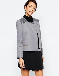 Traffic People Zip It Jacket With Pu Trim Grey