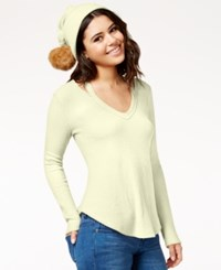 Belle Du Jour Juniors' Waffle Knit Top With Pompom Beanie Ivory