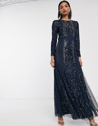Maya Embellished Maxi Dress With Mesh Inserts In Blue