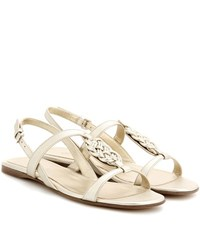 Loro Piana Kaila Leather Sandals Metallic