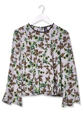 Falling Leaf Print Silk Top By Boutique Grey