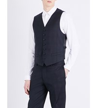 Sandro Prince Of Wales Check Print Wool Waistcoat Navy Blue