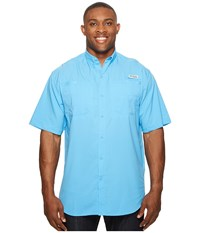 Columbia Tamiami Ii S S Tall Yacht Men's Short Sleeve Button Up Blue