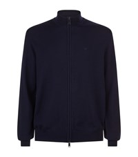 Emporio Armani Wool Zipped Sweater Blue