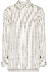 Vince Striped Silk Chiffon Shirt White