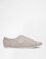 Fred Perry Alley 1964 Silver Canvas Plimsoll Trainers 1964Silver