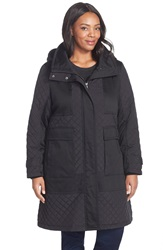 Kristen Blake Long Hooded Parka With Quilted Detail Plus Size Black