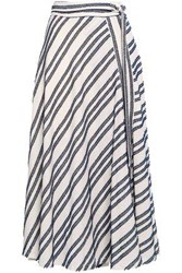 Dkny Woman Frayed Striped Cotton Blend Midi Skirt Ivory