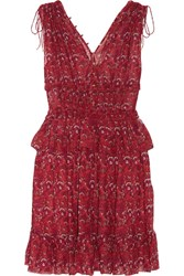 Ulla Johnson Noelle Printed Silk Georgette Mini Dress Red