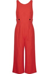 Derek Lam 10 Crosby By Cropped Crepe Jumpsuit Red