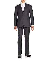 Saks Fifth Avenue Regular Fit Tonal Pinstriped Wool Suit Charcoal
