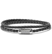 Tateossian Monte Carlo Woven Leather Sterling Silver Bracelet Black