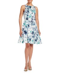 Maggy London Floral Fit And Flare Dress Sw Grey