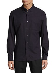 Earnest Sewn William Cotton Casual Button Down Shirt Navy