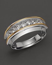 Bloomingdale's Men's 14K Two Tone And Diamond Wedding Band