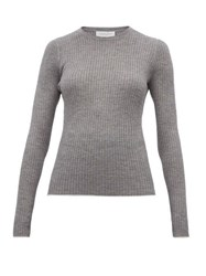 Gabriela Hearst Browning Rib Knitted Cashmere Blend Top Grey Multi