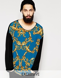 Reclaimed Vintage Oversized Long Sleeve T Shirt Teal