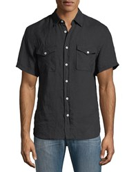 Billy Reid Graham Pocket Short Sleeve Sport Shirt Black