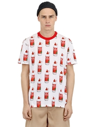 Au Jour Le Jour Glue Bottle Printed Cotton T Shirt Red