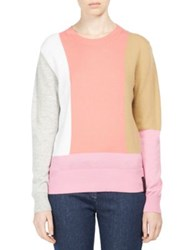 Kenzo Colorblock Wool And Cashmere Sweater Begonia