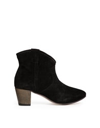 Ravel Suede Heeled Western Ankle Boots Black