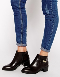 Pull And Bear Deep Brown Short Ankle Boots With Hardware Detail