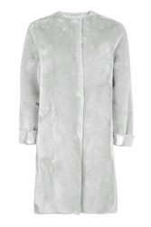 Topshop Bonded Faux Fur Coat Light Blue
