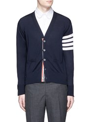 Thom Browne Stripe Sleeve Wool Cardigan Blue