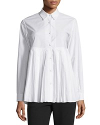Sun Pleated Long Sleeve Cotton Shirt White