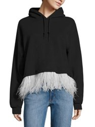 Opening Ceremony Feather Trim Cropped Hooded Sweatshirt Black