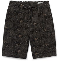 Orslow New Yorker Printed Cotton And Linen Blend Shorts Black