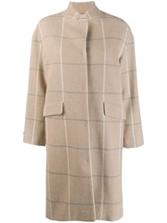 Peserico Checked Coat Brown