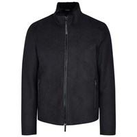 Emporio Armani Midnight Blue Shearling Lined Suede Jacket Navy