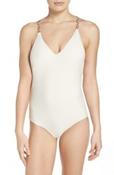 Red Carter Women's Braided One Piece Swimsuit