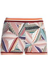 Missoni Patchwork Effect Crochet Knit Shorts Brick