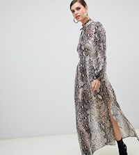 River Island Maxi Dress With Tie Neck In Snake Print Multi