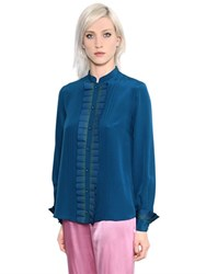 Capucci Pleated Silk Crepe De Chine Shirt