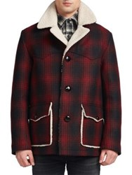 Saint Laurent Faux Shearling Lined Plaid Jacket Red Black