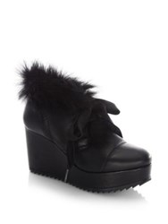 Pedro Garcia Ubon Shearling And Leather Lace Up Wedge Booties Black