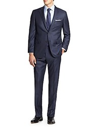 Saks Fifth Avenue Classic Fit Pinstriped Wool Suit Navy